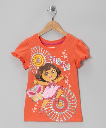Orange Dora Heart Tee - Toddler & Girls