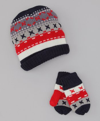 Dorfman Pacific Red Stripe Beanie & Mittens