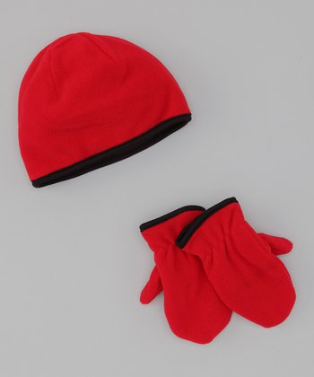 Dorfman Pacific Red Fleece Beanie & Mittens