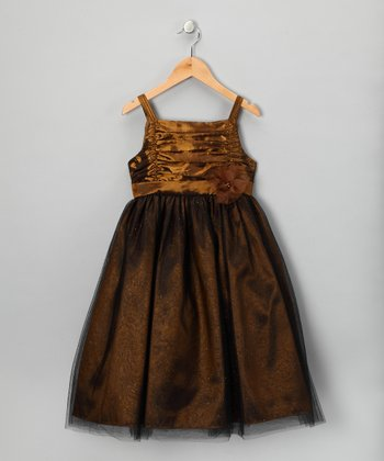 Copper Shimmer Overlay Lucy Dress - Girls