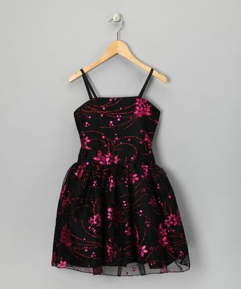 Black & Pink Embroidered Floral Ali Dress - Girls