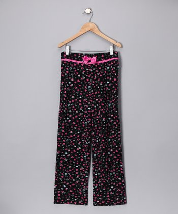 Black & Pink Flower Pajama Pants - Girls