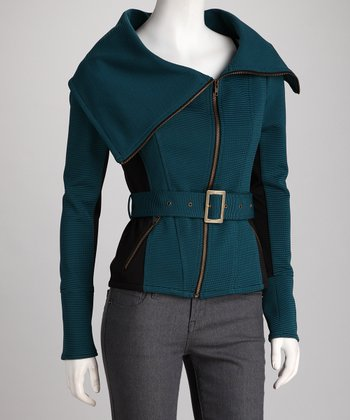 Teal Wide-Collar Belted Jacket