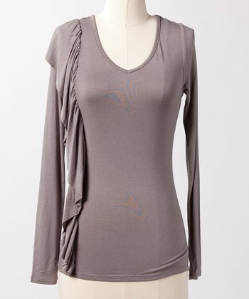 Steeple Gray All For Fashion Long-Sleeve Top