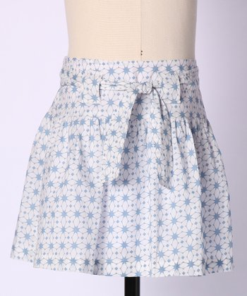 Blue Kaleidoscope Dot Green Thumb Skirt - Girls