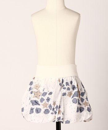 White Seashell Bubbly Skirt - Toddler & Girls