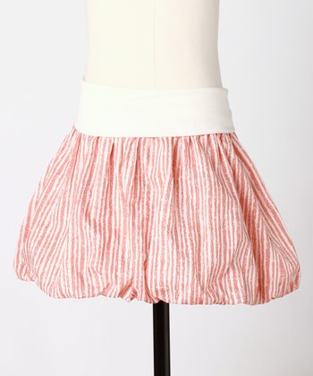 Coral Stripe Bubbly Skirt - Toddler & Girls