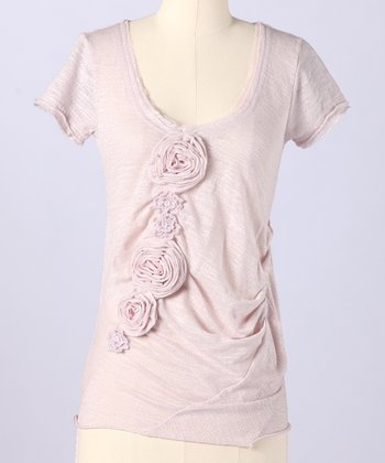 Pale Lilac Top Of The Morning Scoop Neck Top