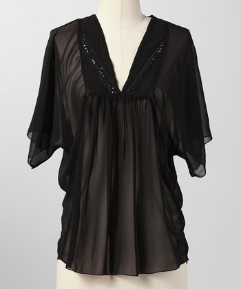 Black Clouded Horizons Sheer Top