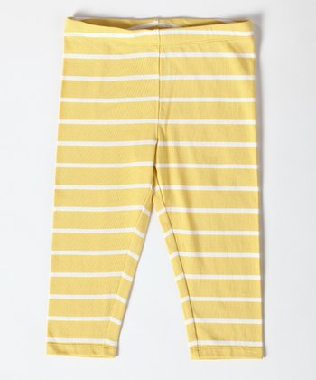 Cream Gold Stripe Lazy Sunday Legging - Girls