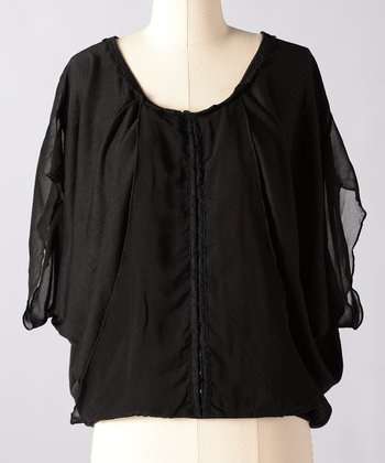 Moonless Night Whispering Pines Cape-Sleeve Top