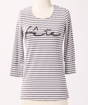 Gray 'Fête' Word Up Top