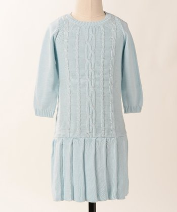 Baby Blue Cable Car Dress - Girls