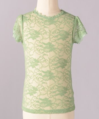 Slate Green Little Lace Tee - Girls