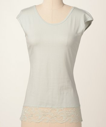 Sky Green Lace Cap-Sleeve Top