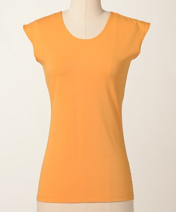 Bright Gold Favorite Cap-Sleeve Top