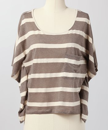 Gray Slouches & Stripes Cape-Sleeve Top