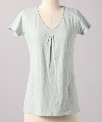 Sky Gray V-Neck Top