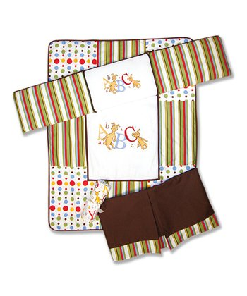 Tan Stripe 'ABC' Crib Bedding Set