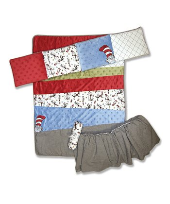 Red & Blue ' Cat in the Hat' Crib Bedding Set