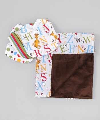 Brown ABC Receiving Blanket & Bib Set
