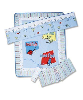 Blue 'One Fish Two Fish' Crib Bedding Set