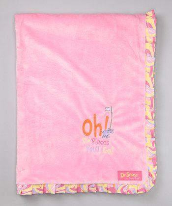 Pink 'Oh, the Places' Ruffle Receiving Blanket