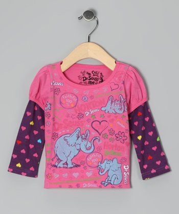 Fuchsia Polka Dot 'Horton' Layered Tee - Infant