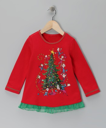 Red Tree Ruffle Tunic - Toddler & Girls