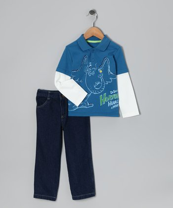 Blue 'Horton' Layered Polo & Jeans - Infant