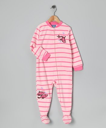 Pink Stripe 'One Fish' Fleece Footie - Toddler