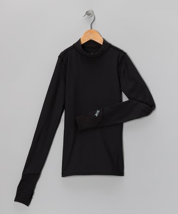 Black Chill Weight Mock-Neck Top