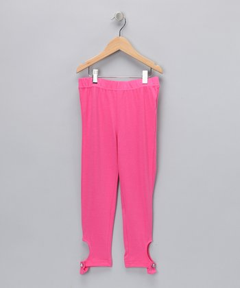 Hot Pink Rhinestone Button Tab Leggings - Girls