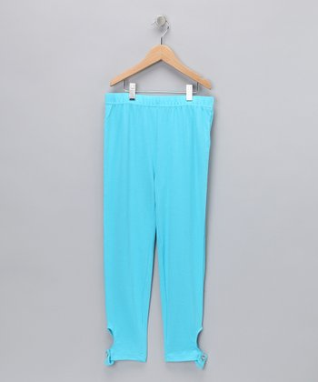 Turquoise Rhinestone Button Tab Leggings - Girls