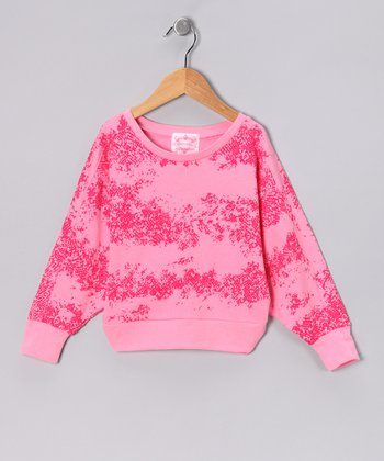 Pink Snake Crop Dolman Top - Girls