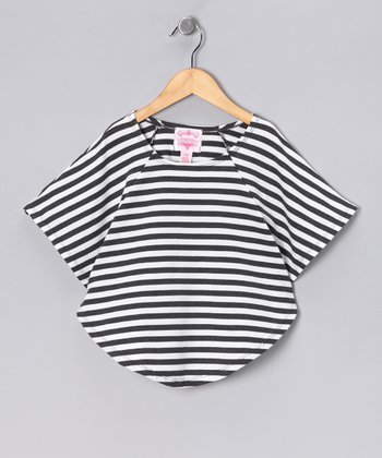 White & Gray Stripe Cape-Sleeve Top - Girls