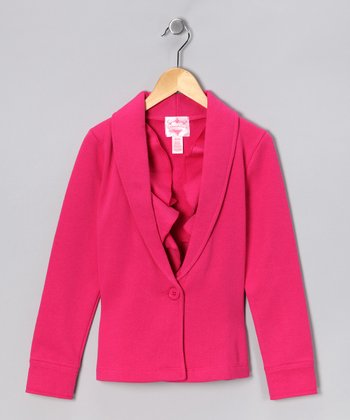 Fuchsia Ruffle Jacket - Girls