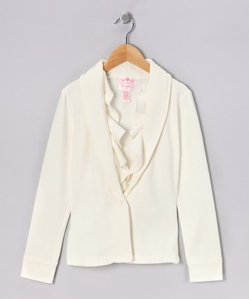 White Ruffle Jacket - Girls