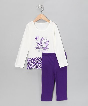 Purple Shopping Zebra Tunic & Leggings - Toddler