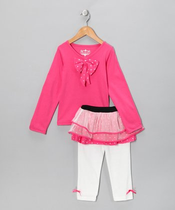 Hot Pink Tunic & Skirted Leggings - Toddler