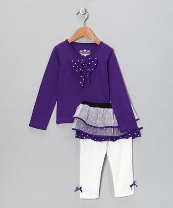 Purple Tunic & Skirted Leggings - Toddler
