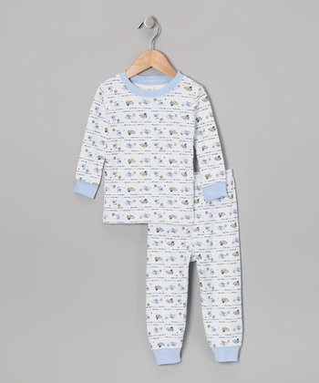 Light Blue Spotty Puppy Pajama Set - Toddler