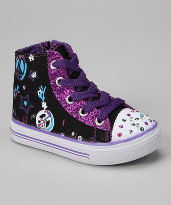 Black & Purple Light-Up Hi-Top Sneaker