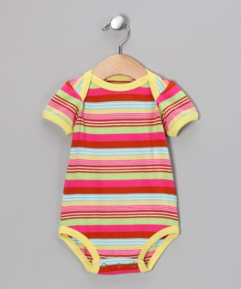 Pink & Yellow Stripe Bodysuit - Infant
