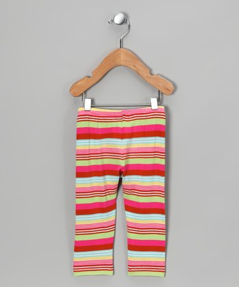 Pink & Cream Stripe Pants - Infant, Toddler & Girls
