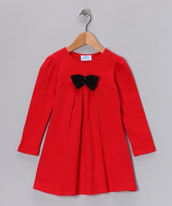Red Bow Swing Dress - Infant, Toddler & Girls