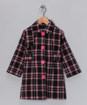 Pink Plaid Coat - Toddler & Girls