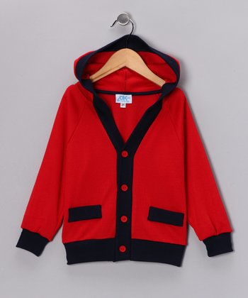 Red Contrast Cardigan - Toddler & Kids