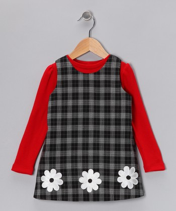 Red Top & Black Plaid Flower Jumper - Infant, Toddler & Girls