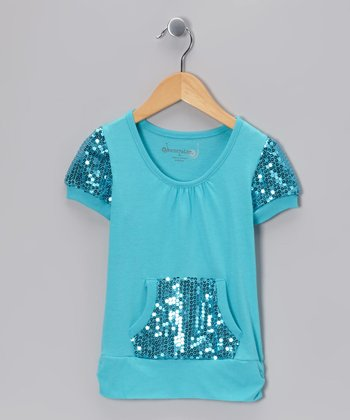 Turquoise Sequin Pocket Top - Toddler & Girls